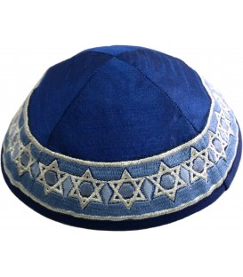Kippah - Embroidered - Magen David - Blue