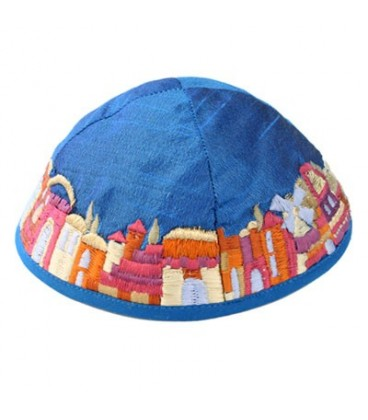 Kippah - Embroidered - Jerusalem - Blue