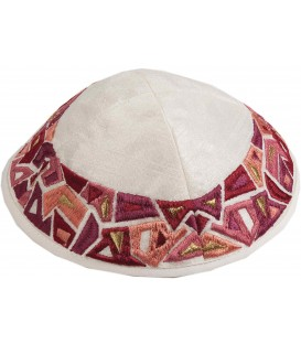 Kippah - Embroidered - Geometry Maroon