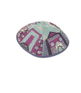 Kippah Hand Embroidered - Jerusalem - Blue