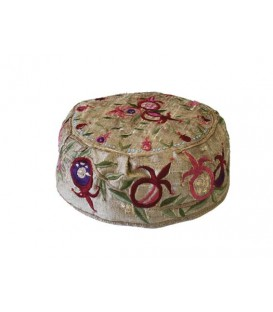 Hat  - Embroidered - Pomegranates Gold
