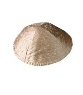 Raw Silk Kippah - Brown