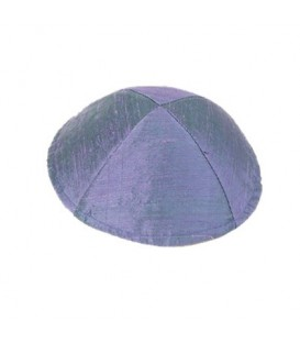 Raw Silk Kippah - Blue