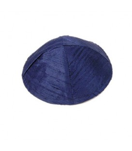 Raw Silk Kippah - Dark Blue
