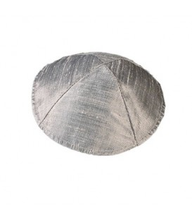 Raw Silk Kippah - Gray