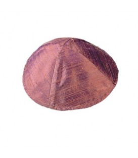 Raw Silk Kippah - Pink