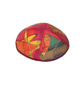 Silk Painted Kippah - Tribes - Maroon