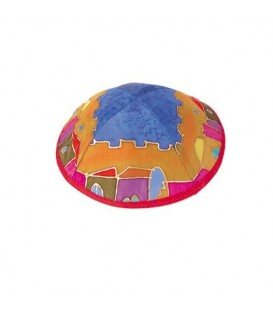 Silk Painted Kippah - Jerusalem - Multicolor