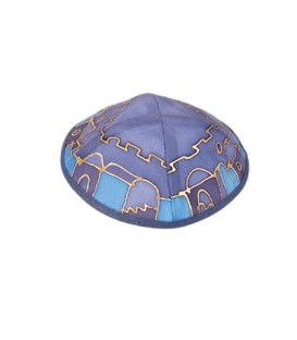 Silk Painted Kippah - Jerusalem - Blue