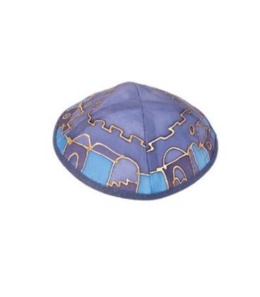 Silk Painted Kippah - Jerusalem - Blue