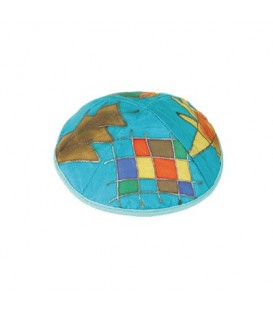 Silk Painted Kippah - Tribes - Turquoise