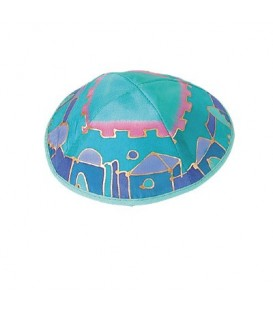 Silk Painted Kippah - Jerusalem - Turquoise View