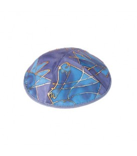 Silk Painted Kippah - Tribes - Blue