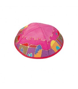 Silk Painted Kippah - Jerusalem - Maroon