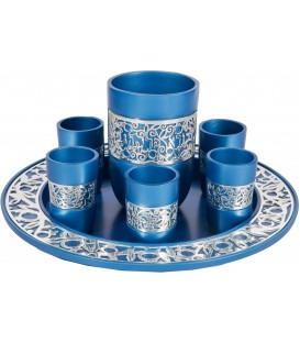 Kiddush Set - Silver Lace - Blue