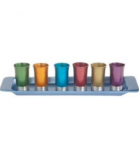Set of 6 Small Cups + Tray - Multicolor