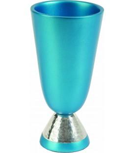 Kiddush Cup - Aluminium + Hammer Work - Turquoise
