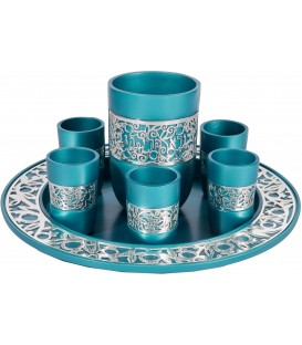 Kiddush Set - Silver Lace - Turquoise