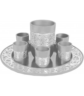 Kiddush Set - Silver Lace - Aluminium