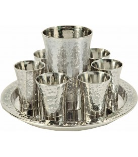 Kiddush Set - Hammer Work- Nickel