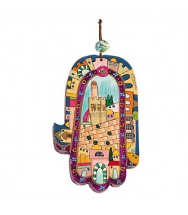 Large Wooden Painted Hamsa - Jerusalem