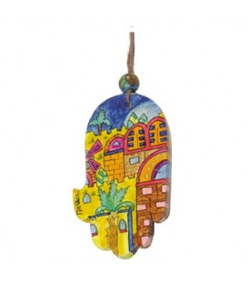 Small Wooden Painted Hamsa - Jerusalem