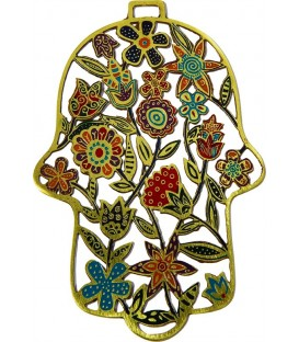 Hamsa - Etching - Flowers - Multicolor