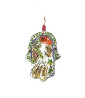 Small Glass Painted Hamsa - Seven Species
