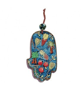 Small Wooden Painted Hamsa - Grapes