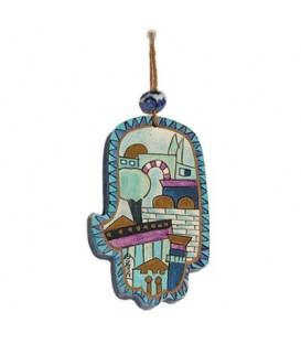 Small Wooden Painted Hamsa - Blue Jerusalem