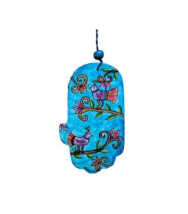 Small Wooden Painted Hamsa - Birds
