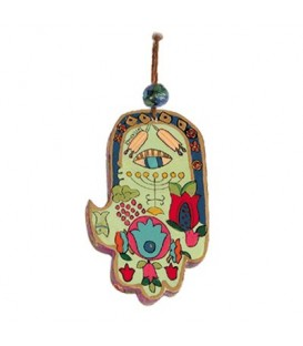 Small Wooden Painted Hamsa - Menorah