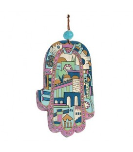 Large Wooden Painted Hamsa - Blue Jerusalem