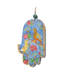 Large Wooden Painted Hamsa - Birds & Pomegranates
