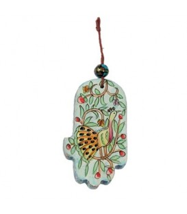 Small Wooden Painted Hamsa - Peacock