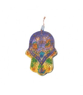 Small Glass Painted Hamsa - Menorah