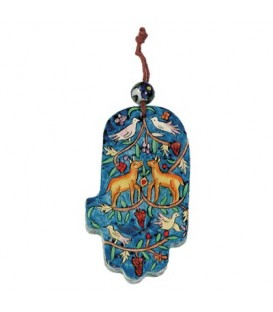 Small Wooden Painted Hamsa - Deer