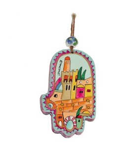 Small Wooden Painted Hamsa - Jerusalem Modern