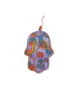 Small Glass Painted Hamsa - Birds