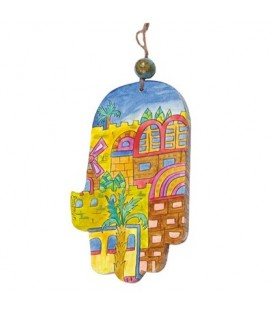 Large Wooden Painted Hamsa - Modern Jerusalem