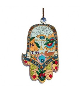 Large Wooden Painted Hamsa - Menorah