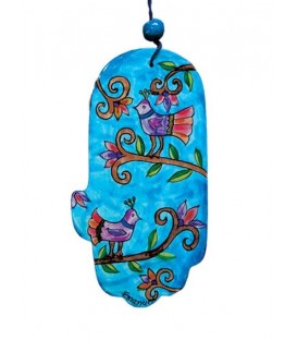 Large Wooden Painted Hamsa - Birds