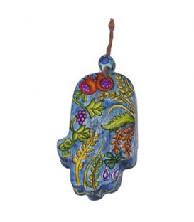 Small Wooden Painted Hamsa - Seven Species