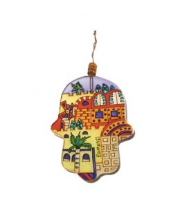 Small Glass Painted Hamsa - Modern Jerusalem