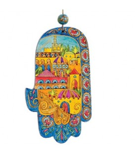 Large Wooden Painted Hamsa - Oriental Jerusalem