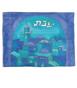 Silk - Painted Challah Cover- Gate- Blue
