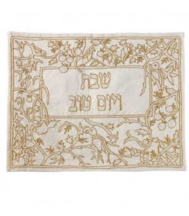 Hand Embroidered Challah Cover- Gold Birds