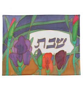 Silk - Painted Challah Cover- Blue Iris