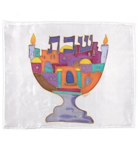 Silk - Painted Challah Cover- Multicolor