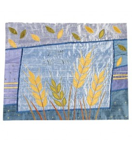 Raw Silk Applique`d Challah Cover- Wheat- Blue